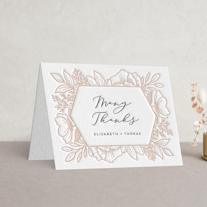 """Fresh Flowers"" - Letterpress Thank You Cards in Graphite | Latte by Genna Blackburn."