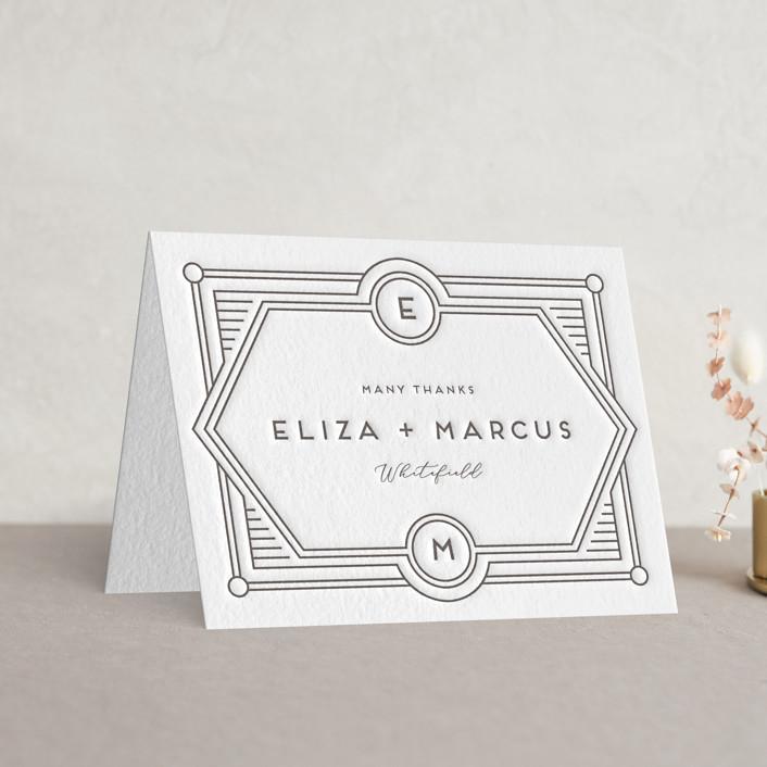 """Deco Impression"" - Letterpress Thank You Cards in Graphite by Genna Blackburn."