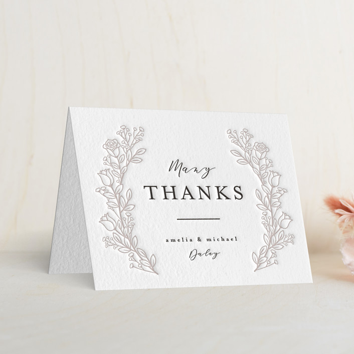 """""""Floral Wreath"""" - Letterpress Thank You Cards in Dove Grey 