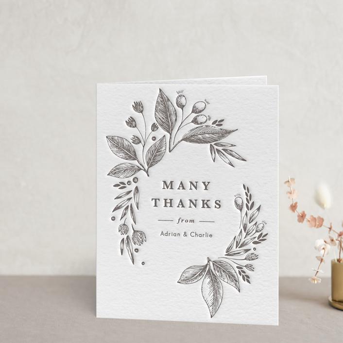 """Garden Flowers"" - Letterpress Thank You Cards in Graphite by Yuliya Evseeva."