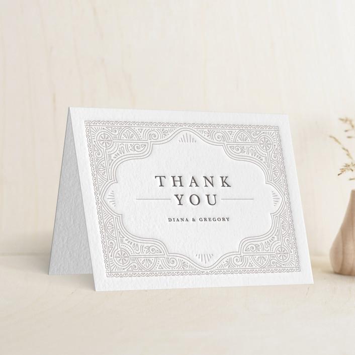 """Ornamental"" - Letterpress Thank You Cards in Dove Grey   Graphite by Kristen Smith."