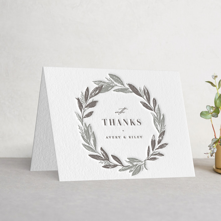 """Woodland Wreath"" - Letterpress Thank You Cards in Graphite 
