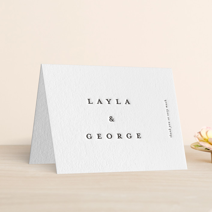 """""""Minimal"""" - Letterpress Thank You Cards in Soft Black by Laura Hamm."""