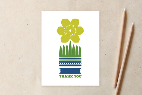 Nordic Yellow Flower Thank You Card Non-Custom A2 Cards