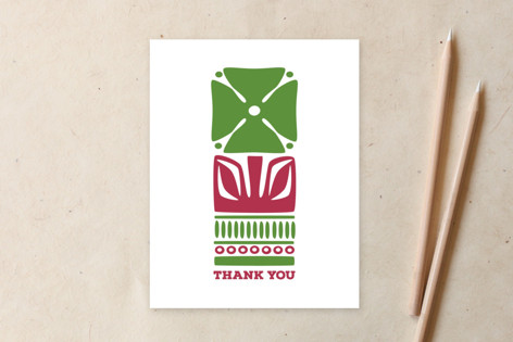 Nordic Green Flower Thank You Card Non-Custom A2 Cards