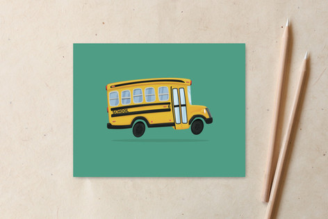 Kids School Bus Non-Custom A2 Cards
