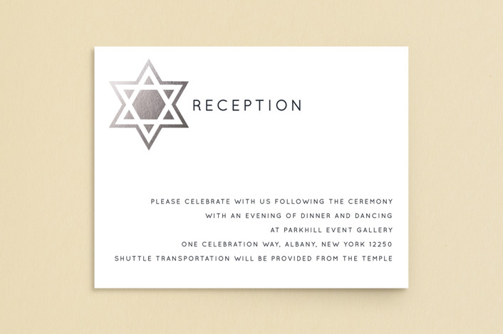 """Shining Star"" - Foil-pressed Mitzvah Reception Cards in Naval by Luckybug Designs."