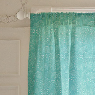 Aqua Flowers Self-Launch Curtains