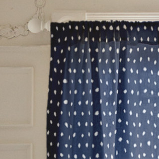Woodberry Dot Self-Launch Curtains
