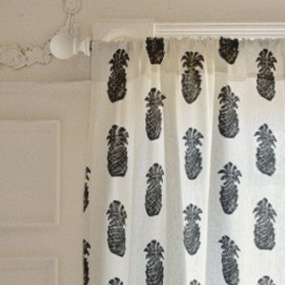 Block Print Pineapple Self-Launch Curtains