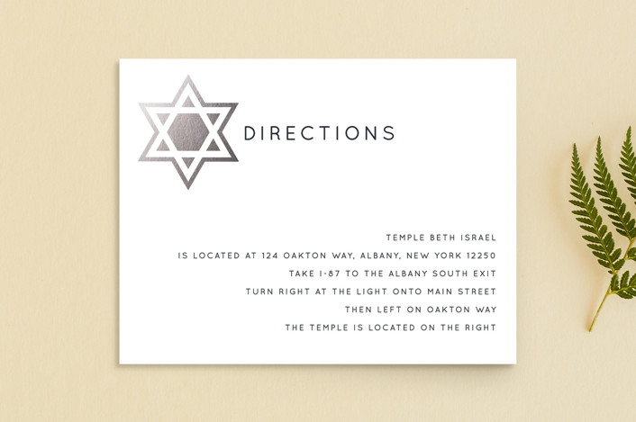 """Shining Star"" - Foil-pressed Mitzvah Directions Cards in Naval by Luckybug Designs."