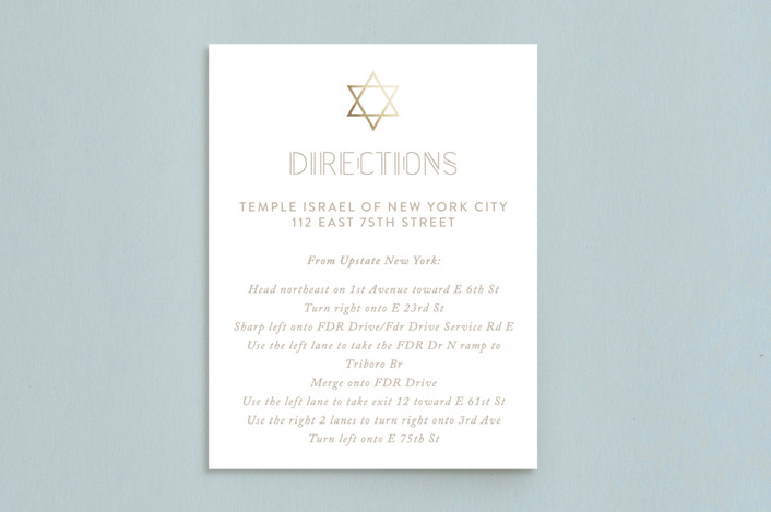 """Gold Star"" - Foil-pressed Mitzvah Directions Cards in Sand by Roopali."