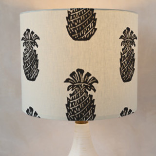 Block Print Pineapple Self-Launch Drum Lampshades