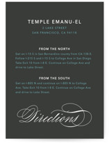 sophisticated elegance Mitzvah Direction Cards