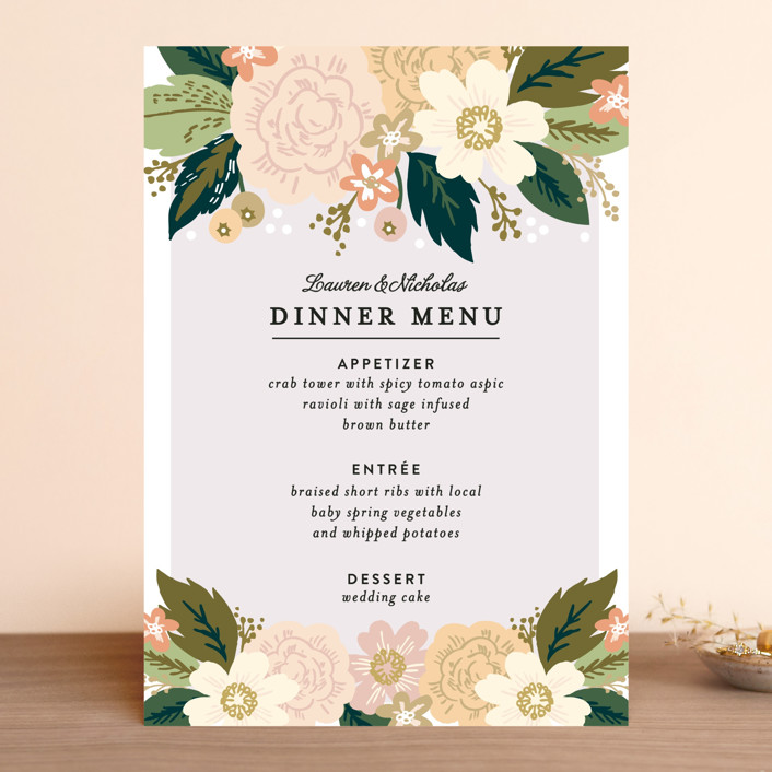 """Classic Floral"" - Floral & Botanical Menu Cards in Spring Blush by Alethea and Ruth."