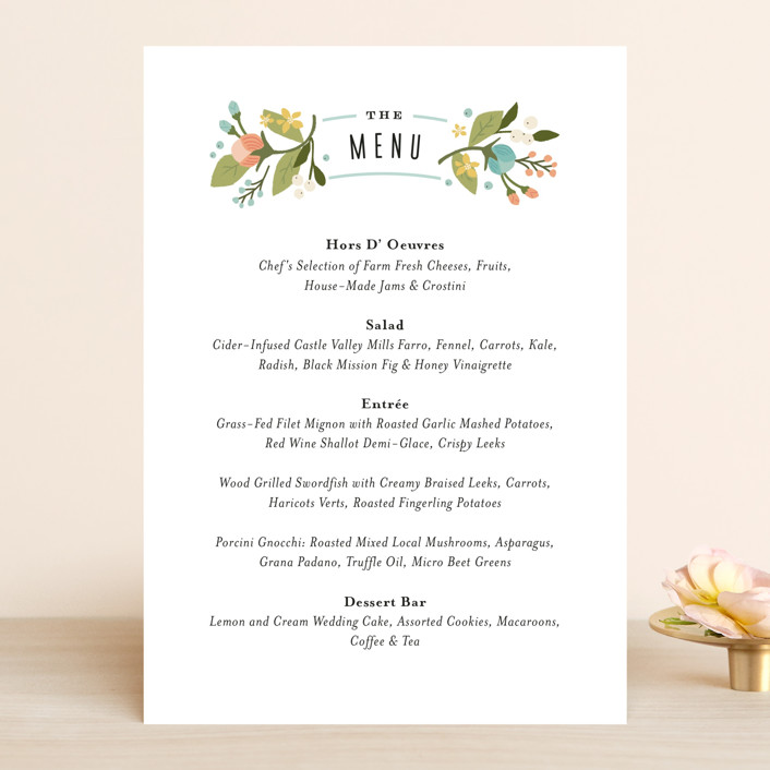 """Floral Ampersand"" - Floral & Botanical, Vintage Menu Cards in Sea Breeze by Jennifer Wick."