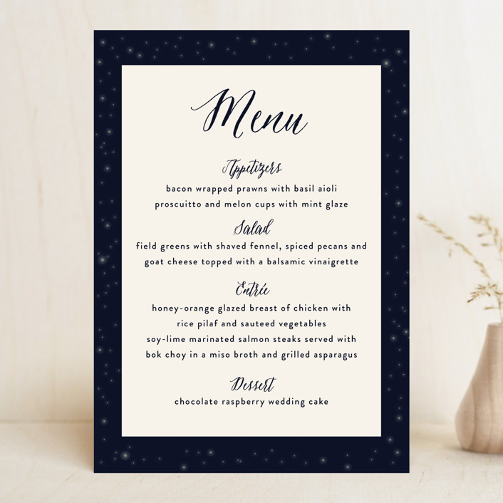 """Outside"" - Rustic Menu Cards in Navy by Rebecca Bowen."