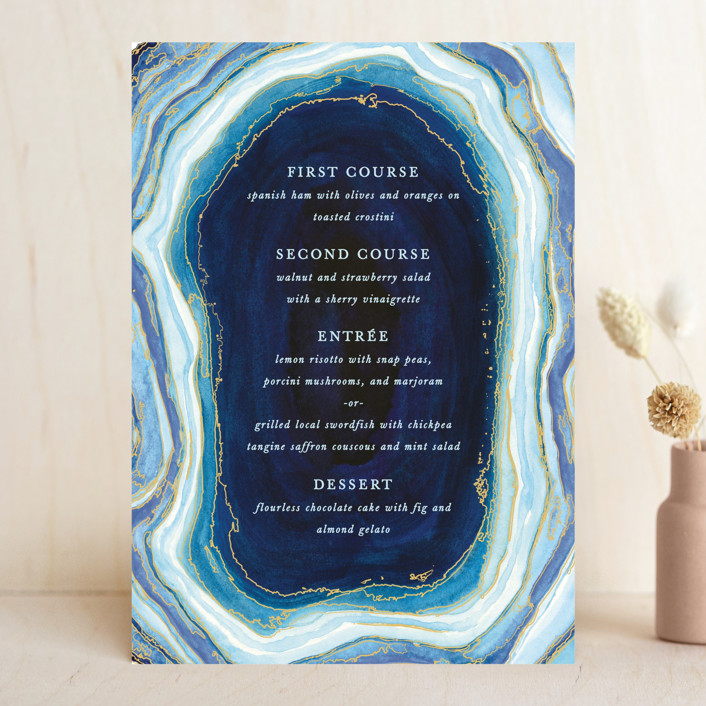 """Gilt Agate"" - Abstract Menu Cards in Navy by Kaydi Bishop."