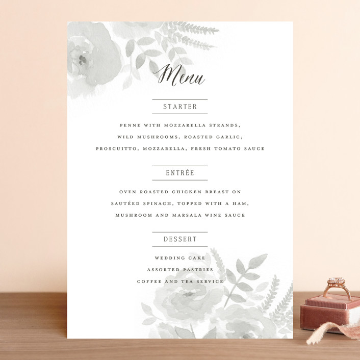 """Watercolor Floral"" - Floral & Botanical Menu Cards in Fog by Jill Means."