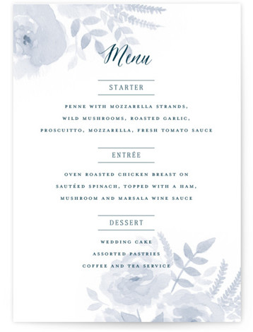 This is a portrait floral, watercolor, blue Menus by Jill Means called Watercolor Floral with Standard printing on Signature in Classic Flat Card format. Give guests a sneak peek of the meal to come with these unique menus. All menus ...
