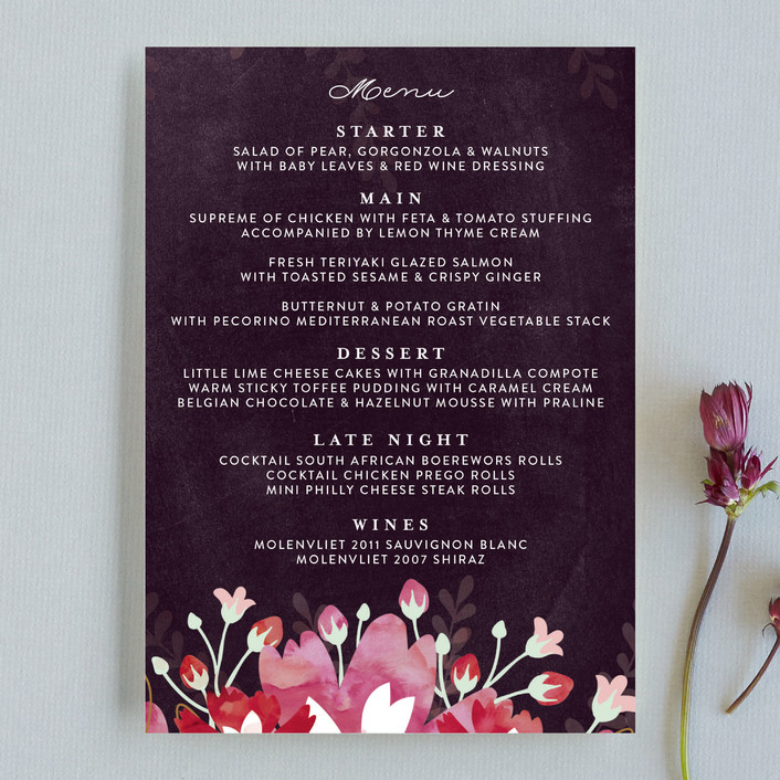 """Enchanting Plum"" - Floral & Botanical Menu Cards in Deep Plum by Phrosne Ras."