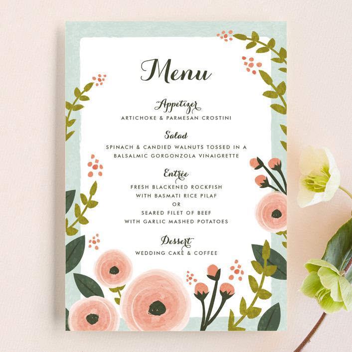 english floral garden menu cards by karidy walker minted