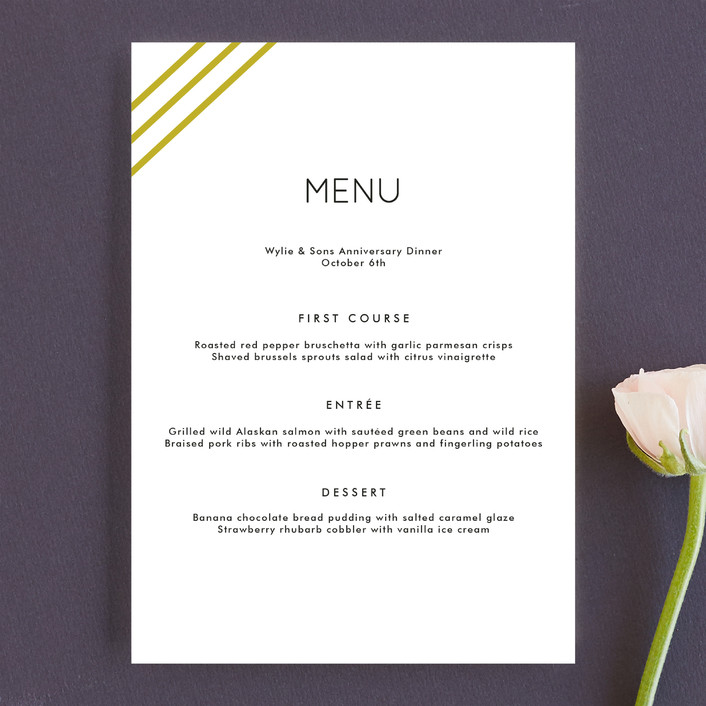 """Diagonal Stripes"" - Simple Menu Cards in Tuxedo by Dozi."