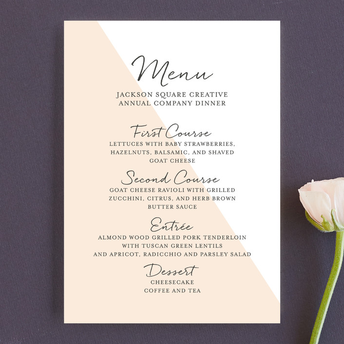 """Modern Color Block"" - Modern Menu Cards in Sherbert by Paper Dahlia."