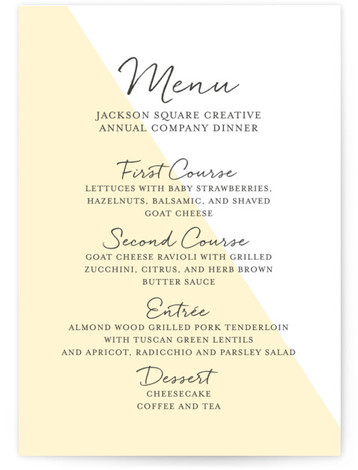 This is a portrait modern, yellow Menus by Paper Dahlia called Modern Color Block with Standard printing on Signature in Classic Flat Card format. Give guests a sneak peek of the meal to come with these unique menus. All menus ...