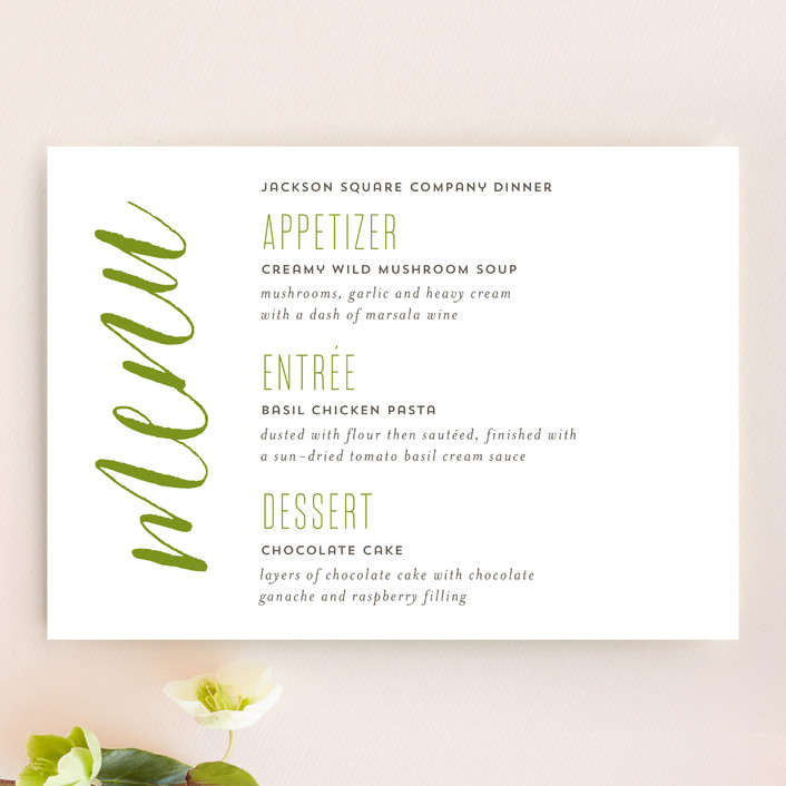 """""""Modern Harvest"""" - Menu Cards in Olive by Cheer Up Press."""