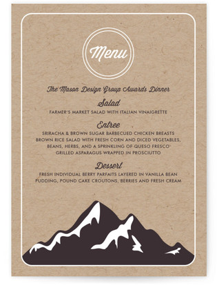 Mountain Menu