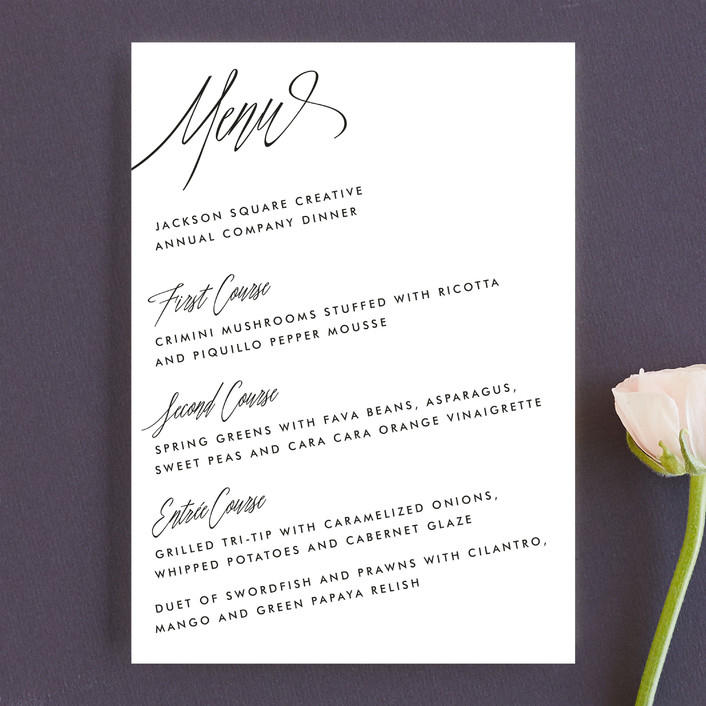 """On An Angel"" - Simple, Classical Menu Cards in Obsidian by Bourne Paper Co.."