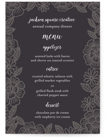 This is a portrait floral, gray Menus by Katharine Watson called Parker Floral with Standard printing on Signature in Classic Flat Card format. Give guests a sneak peek of the meal to come with these unique menus. All menus can ...