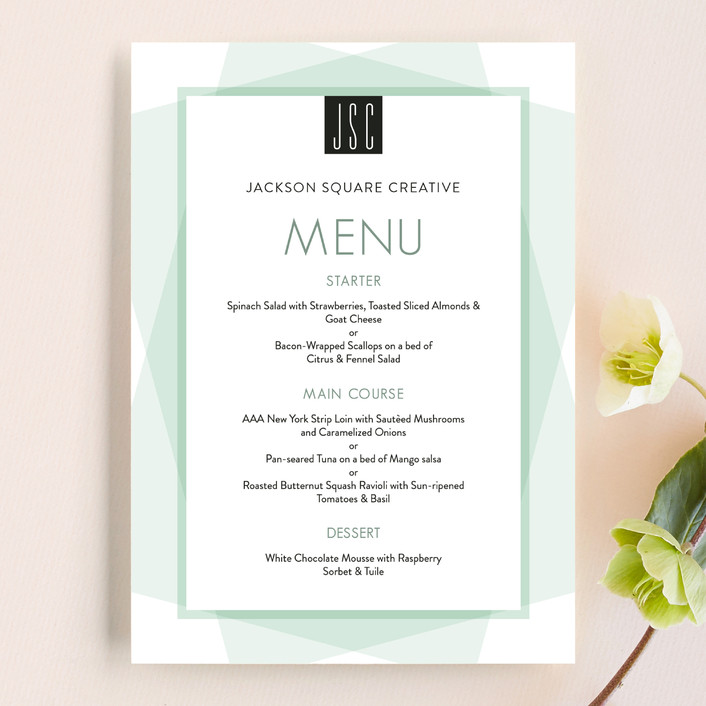 """""""Prism"""" - Simple Menu Cards in Soft Mint by Coco and Ellie Design."""