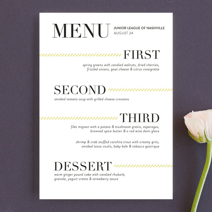 """Sidewalk"" - Modern, Bold typographic Menu Cards in Mustard by Jessica Williams."