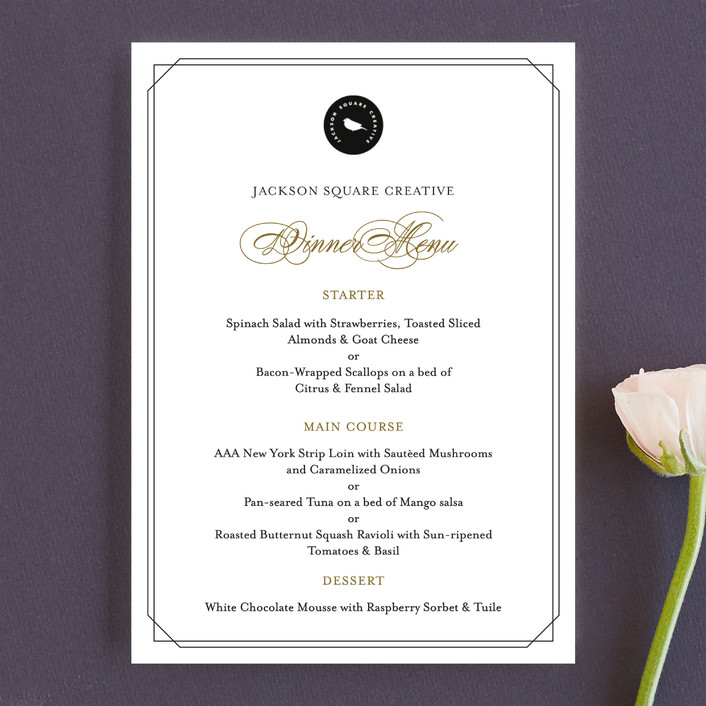 simply elegant menu cards by coco and ellie design minted
