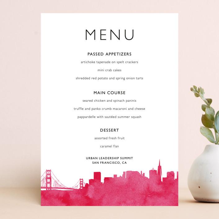 """Skyline-San Francisco"" - Hand Drawn Menu Cards in Fuchsia by Laura Condouris."