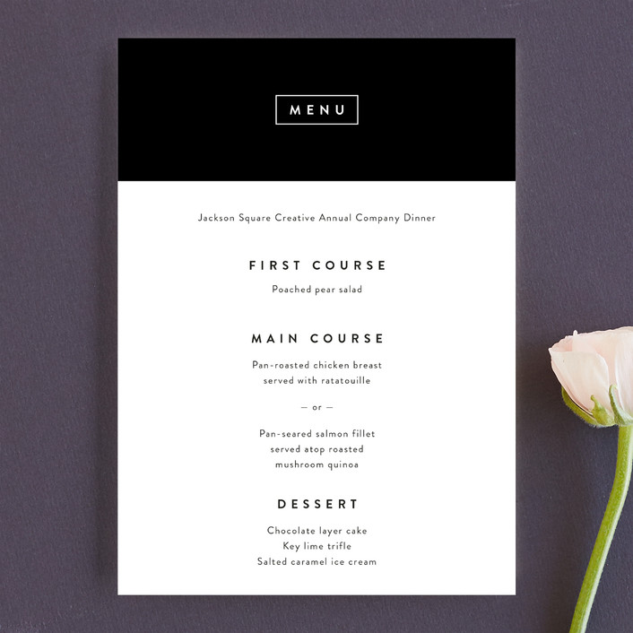 """The Standard"" - Simple Menu Cards in Tuxedo by Stacey Meacham."