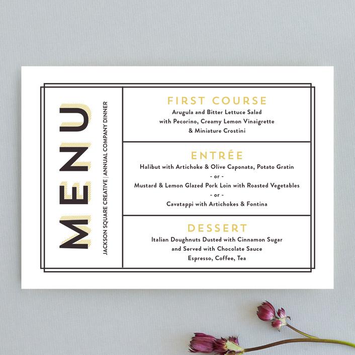 """Vintage Grid"" - Bold typographic, Modern Menu Cards in Dandelion by Olivia Raufman."