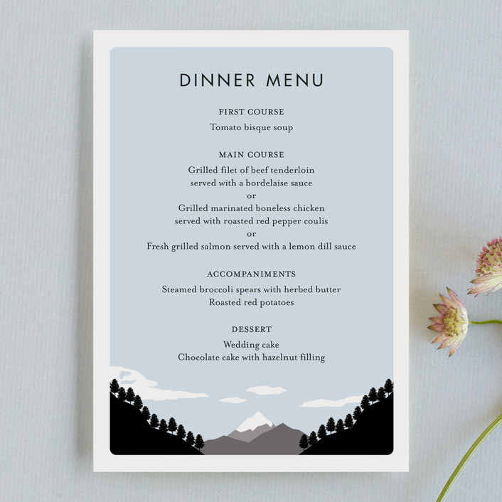 """Holiday Mountain"" - Destination Menu Cards in Winter by Kampai Designs."