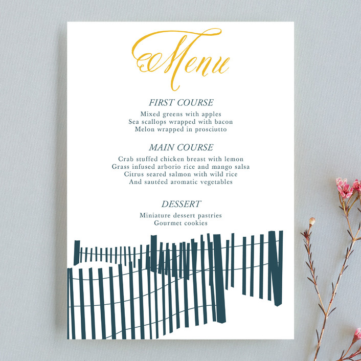 """Beachside"" - Beach, Destination Menu Cards in Navy by 24th and Dune."