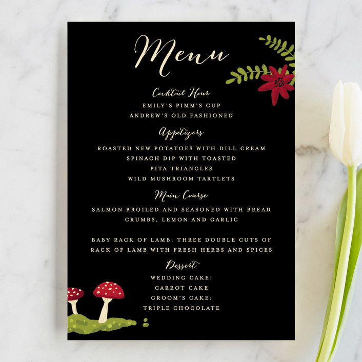 """Bell Jar"" - Whimsical & Funny, Rustic Menu Cards in Persimmon by Pistols."