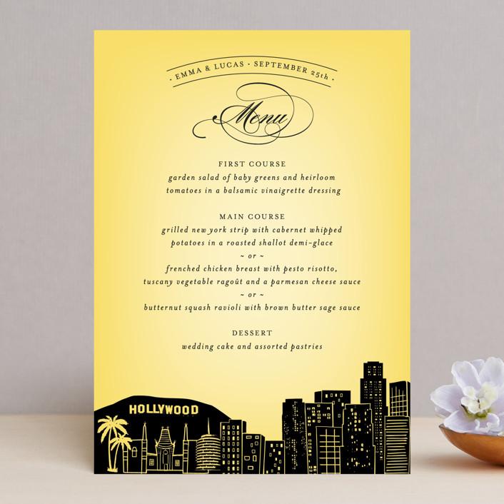 """Big City - Los Angeles"" - Destination, Modern Menu Cards in Lemondrop by Hooray Creative."