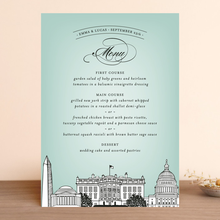 """Big City - Washington DC"" - Modern Menu Cards in Mint Green by Hooray Creative."