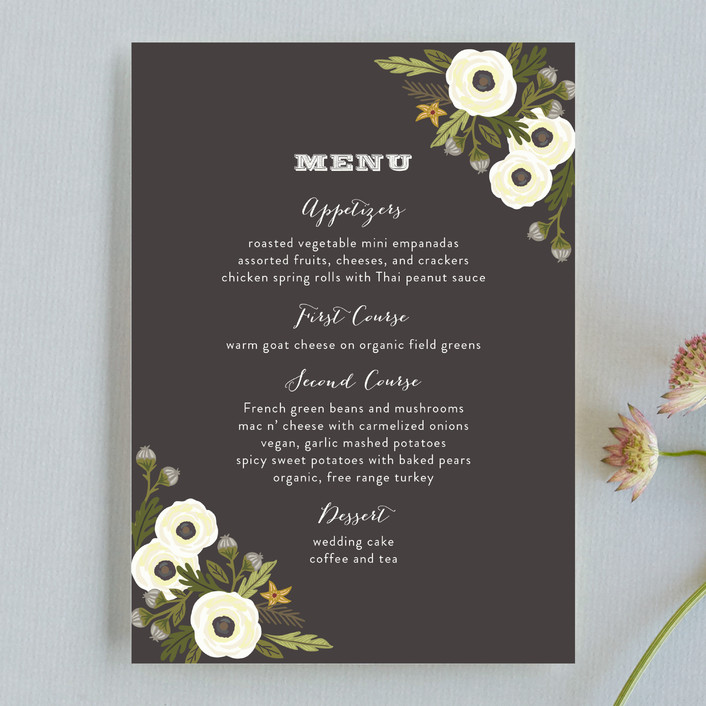 """""""Boheme"""" - Rustic, Floral & Botanical Menu Cards in Marigold by Griffinbell Paper Co.."""