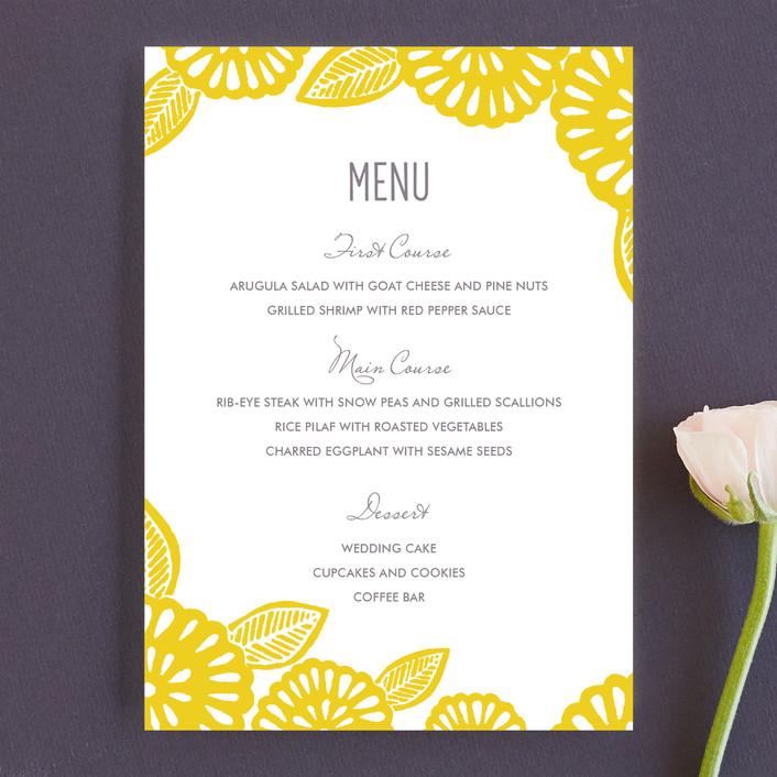 """Bold Block Print"" - Floral & Botanical, Modern Menu Cards in Mustard by Katharine Watson."