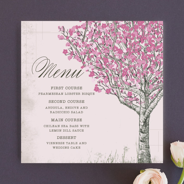 """Cherry Blossom"" - Rustic Menu Cards in Sweet Cherry by Jenifer Martino."