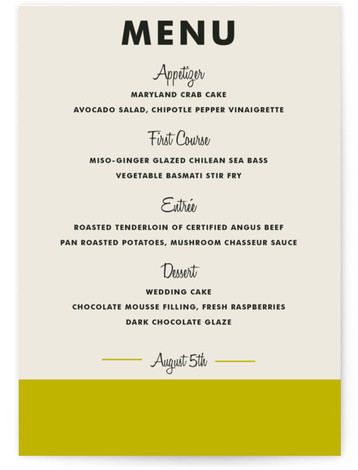 This is a portrait bold typographic, modern, simple, green Menus by Paper Dahlia called Color Block with Standard printing on Signature in Classic Flat Card format. Give guests a sneak peek of the meal to come with these unique menus. ...