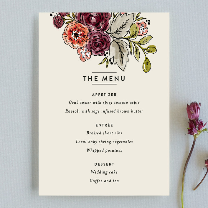 """""""Dahlia Bouquet"""" - Floral & Botanical Menu Cards in Wine by Alethea and Ruth."""