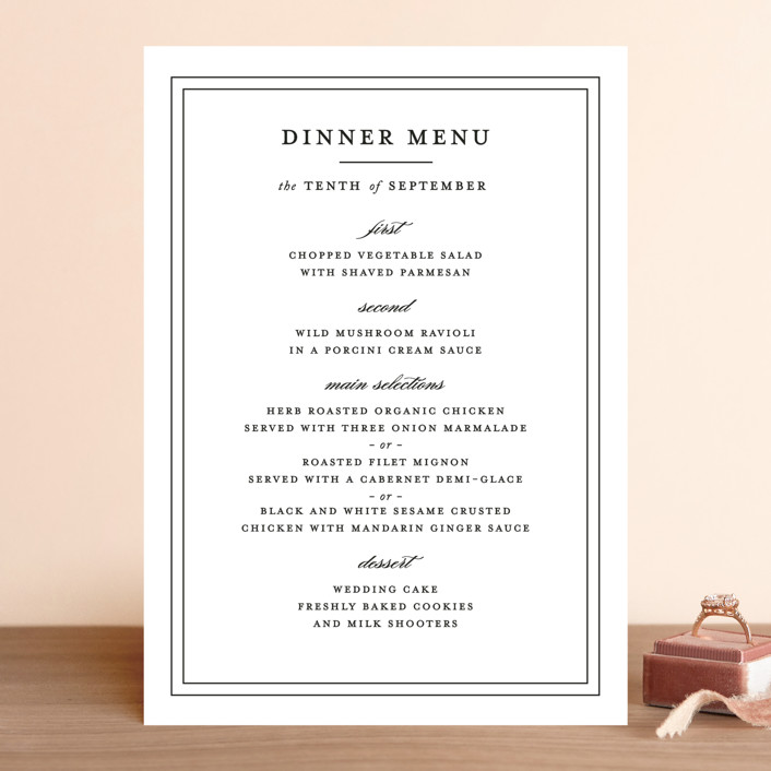 """Eloquence"" - Traditional, Classical Menu Cards in Vanilla by Kimberly FitzSimons."
